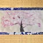 Japanese Kimono fabric ZEN Sakura painting wall decor