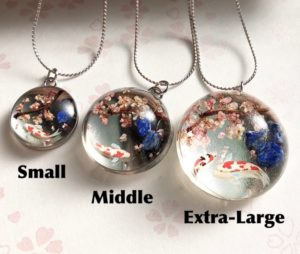 Japanese style crystal glass dome Koi fish and Sakura necklace