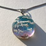 Crystal dome 3D Japanese Spring after sunset sky necklace