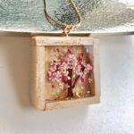 Unique wooden box 3D Sakura cherry blossom necklace