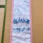 Large Kimono fabric ZEN style Mt. Fuji with SHIDARE Sakura kakejiku hanging scroll
