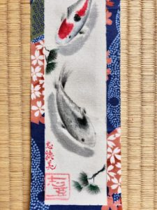 Kimono fabric Koi painting wall decor