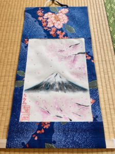 Gorgeous Kimono fabric Mt. Fuji with Sakura cherry blossom Kakejjiku wall decoration