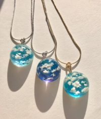 Crystal dome 3D sky and cloud necklace