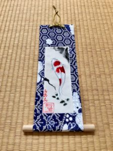 Good fortune Koi painting small hanging scroll