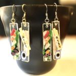 Miniature Japanese food Sushi set dangling earrings