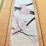 Japanese painting calligraphy art hanging scroll Kakejiku wall decor ZEN style Sakura cherry blossom art