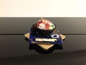 Miniature 3D Japanese food Kaisendon necklace
