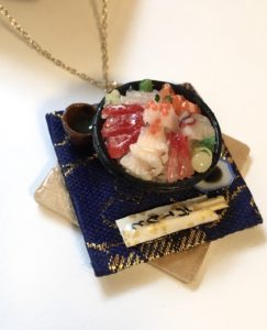 Miniature Japanese food Kaisendon necklace