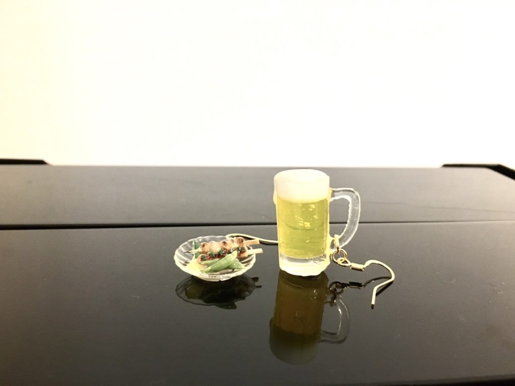 Miniature 3D Japanese food Yakitori and beer earrings