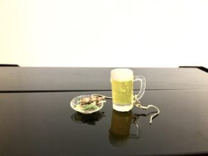 Miniature 3D Japanese food Yakitori and beer earrings