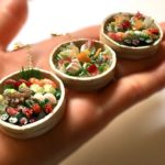 Miniature 3D Japanese food wooden bowl Sushi and Sashimi necklace