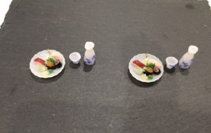 Miniature 3D Japanese food Sushi and Japanese Sake earrings
