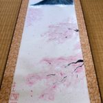 Large ZEN style Kakemono of Mt. Fuji and Sakura cherry blossom painting on Etsy