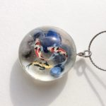 Japanese style crystal glass dome Koi fish pond necklace
