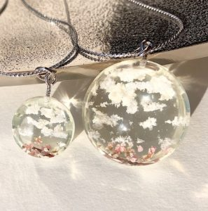 Crystal glass 3D Japanese Spring sky necklace