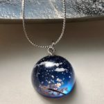 Crystal dome 3D Japanese Spring night sky necklace