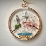 Japanese style good luck necklace - crane birds ORIZURU, Mt.Fuji, Sakura cherry blossom, pine tree