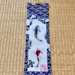 Japanese Kimono small Kakejiku hanging scroll of Koi fish painting art