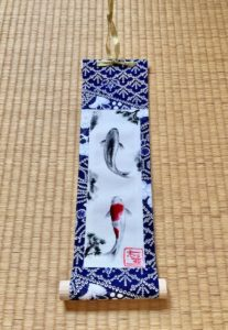 Japanese Kimono small Kakejiku hanging scroll of Koi fish painting art