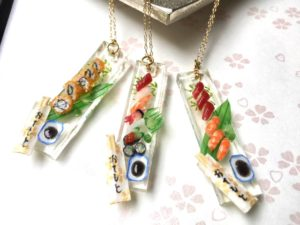 miniature 3D sushi necklaces