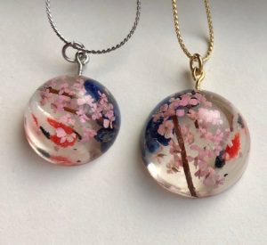 3D koi fish and Sakura with power stone necklace
