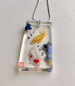 Our 3D painting Koi fish necklace