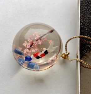 Crystal glass 3D koi with Sakura necklace