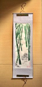 Japanese painting calligraphy art hanging scroll Kakejiku wall decor bamboo