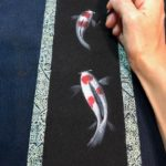 painting Koi fish on Kimono kakejiku