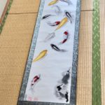 Extra large Koi pond Japanese calligraphy painting Kakejiku hanging scroll