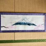 Japanese painting calligraphy art hanging scroll Kakejiku wall decor Mt. Fuji and Sakura