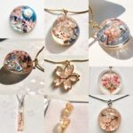 crystal 3D Sakura cherry blossoms Mt Fuji jewelry