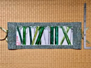 Kimono fabric Kakejiku hanging scroll small bamboo