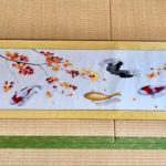 Japanese painting calligraphy art hanging scroll Kakejiku wall decor Koi fish and Autumn color