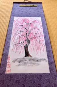 Japanese painting ZEN Sakura hanging scroll Kakejiku wall decoration