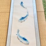 Japanese painting calligraphy art hanging scroll Kakejiku wall decor mysterious Blue koi fish 3D painting