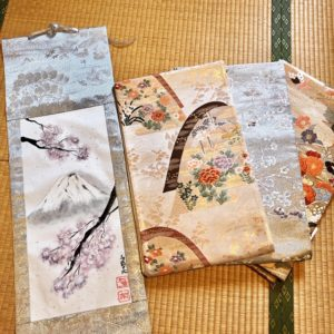 Gorgeous Kimono Obi belt Japanese painting Kakejiku hanging scroll Mt. Fuji and Sakura cherry blossom