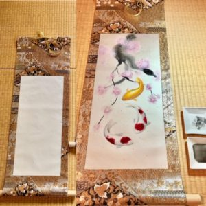 Gorgeous Kimono Obi belt Japanese painting Kakejiku hanging  scroll Koi fish and Sakura
