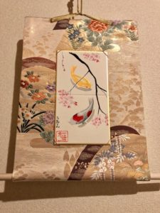 Gorgeous Kimono Obi belt Japanese painting Kakejiku hanging scroll Koi fish and Sakura cherry blossoms