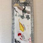 Gorgeous Kimono Obi belt Japanese painting Kakejiku hanging scroll Koi fish and pine tree