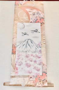 Gorgeous Kimono silk obi belt Japanese painting Mt.Fuji, Sakura cherry blossoms & crane birds hanging scroll