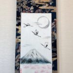 Precious Kimono silk obi belt Japanese painting Mt.Fuji & crane birds in full moon Sakura night hanging scroll