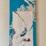 Gorgeous Kimono silk obi Japanese painting blue Koi and sakura hanging scroll