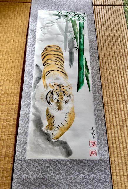 Unique tiger & bamboo Japanese painting Kakejiku hanging scroll