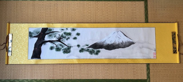 Extra-large Mt.Fuji and Japanese Pine tree hanging scroll, Impressive landscape ZEN style wall decor
