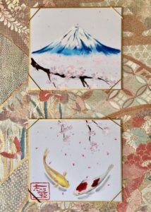 Mt. Fuji with sakura and Koi fish painting hanging scroll