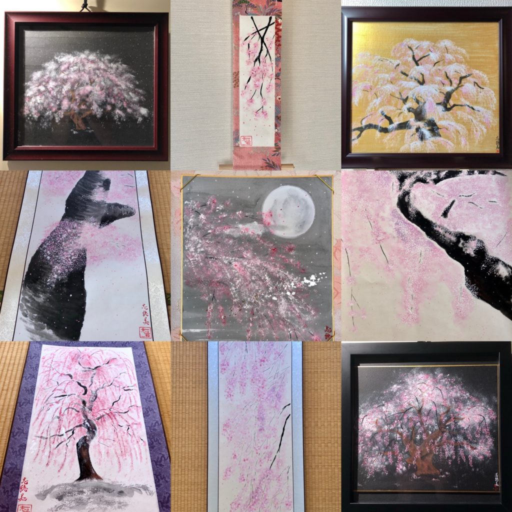 Our Japanese painting art Sakura cherry blossoms series