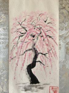 Sakura cherry blossoms painting art Kimono silk kakejiku