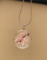 Amazing crystal Sakura cherry blossoms necklace